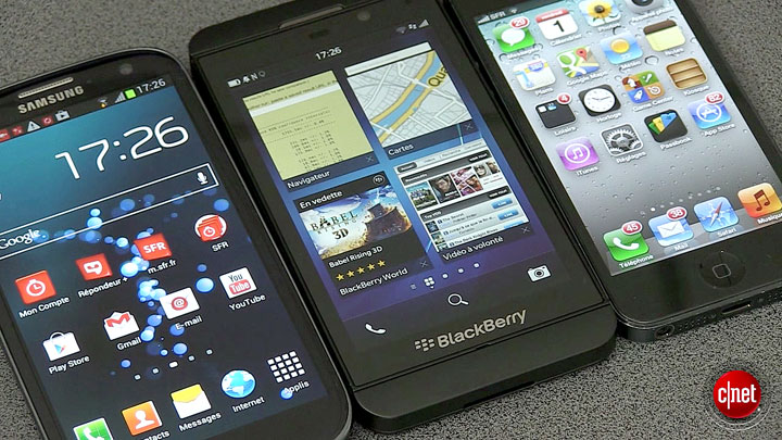 BlackBerry Z10, Galaxy S3, iPhone 5 : le premier face à face