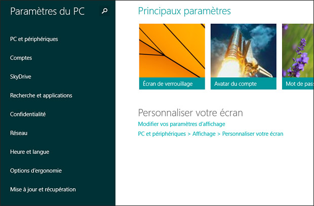 Paramètres PC windows 8.1