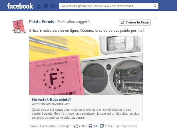 Une tromperie au permis à points en publicité sur Facebook ?