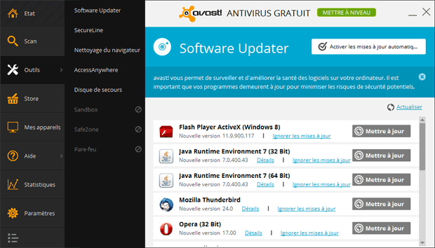 Les outils avast!