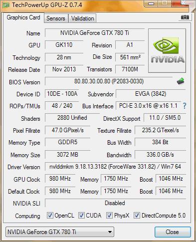 Résultat GPU-Z