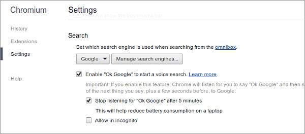 Paramètres Ok Google