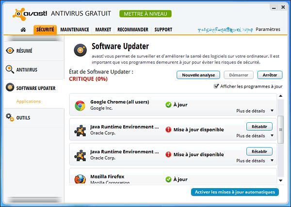 Mise à jour des logiciels