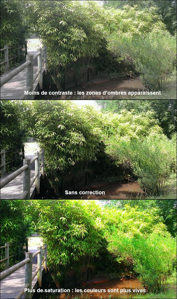 Modification contraste et saturation