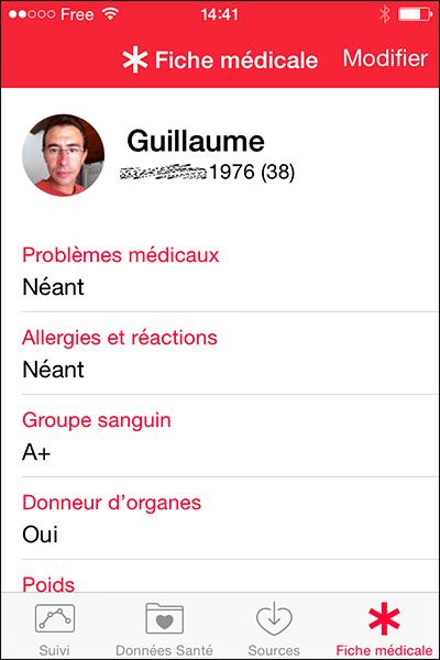 Fiche médicale iOS