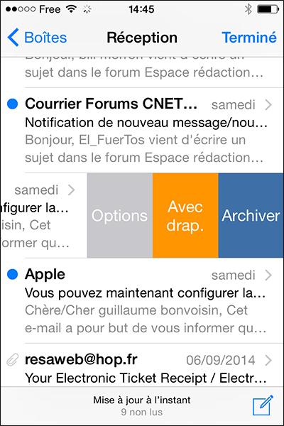 Balayage dans les emails