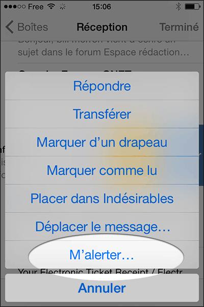 alerte email iPhone