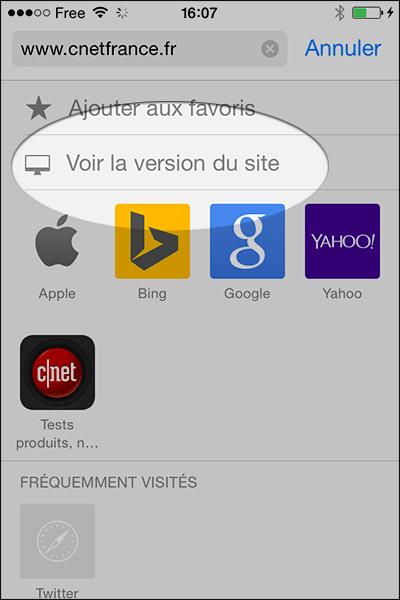 Version normale avec Safari