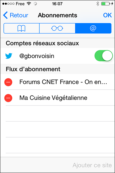 Flux RSS Safari