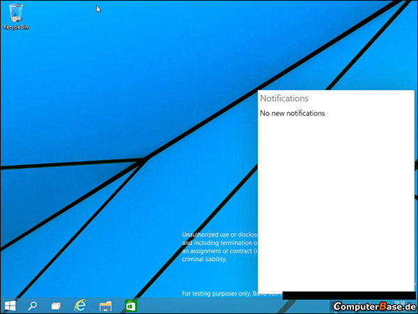 Notification dans Windows 9