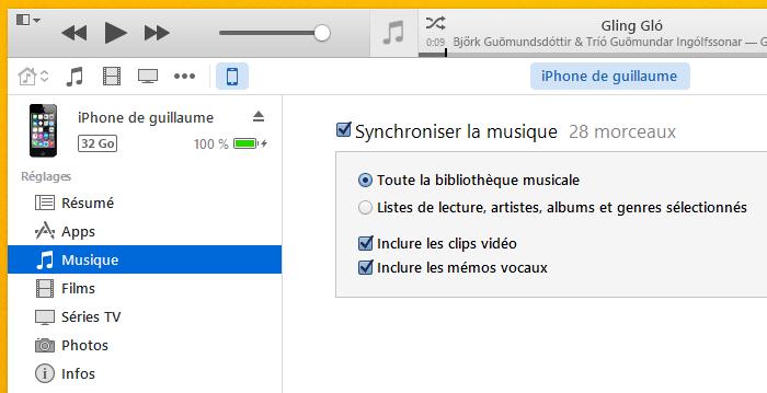 Musique dans iTunes