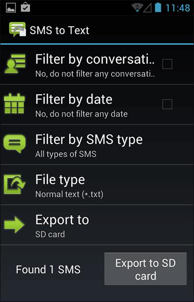 Sauvegarde des sms Android
