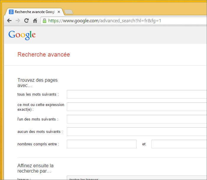 Recherche avancée dans Google