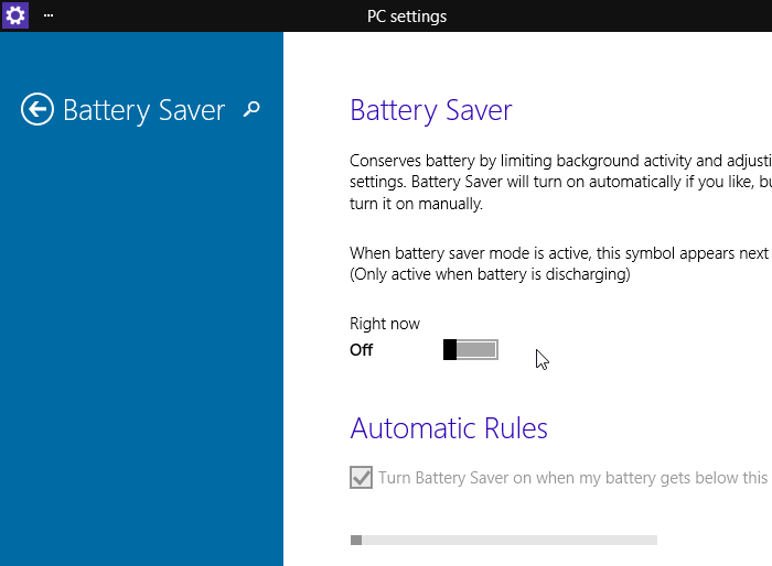 Economies de batterie sous Windows 10