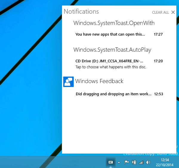 Centre de notifications de Windows 10