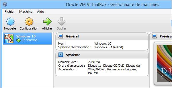 Le logiciel VirtualBox