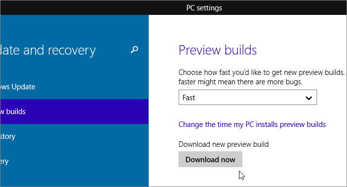 Mise à jour Windows 10 build 9926