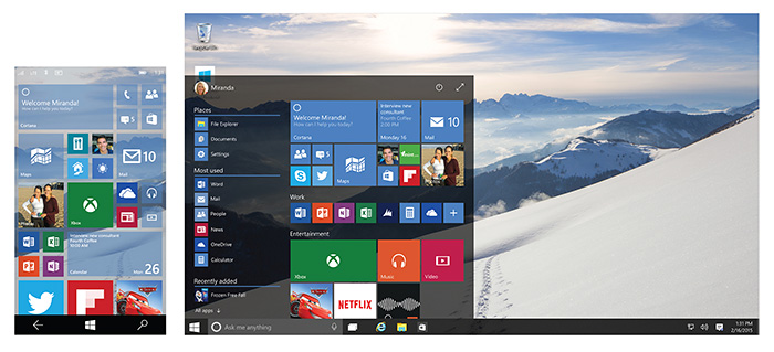 Interface de Windows 10