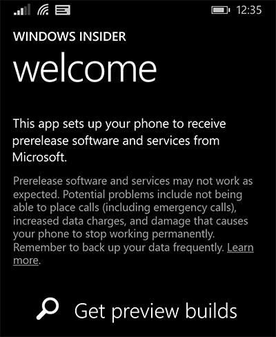 Windows insider pour smartphone