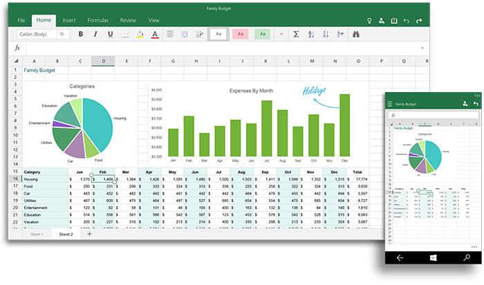 Excel pour Windows 10