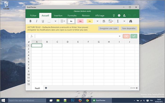 Lecture seule Excel