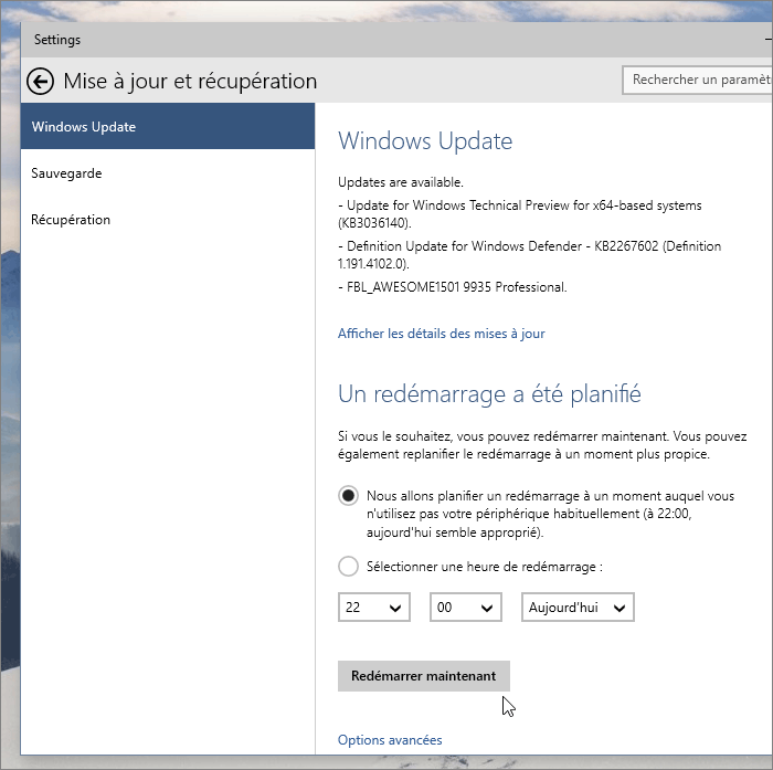 Windows Update dans les paramètres Windows 10