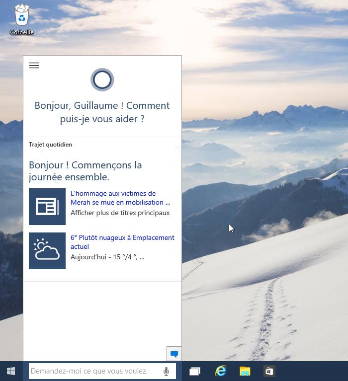 Cortana en français