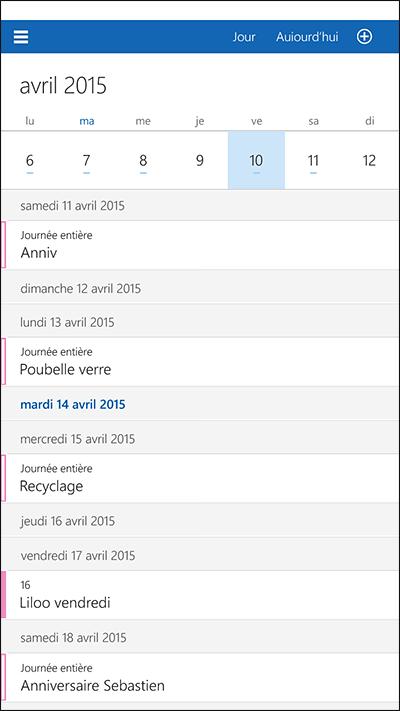 Le calendrier sous Windows 10 mobile