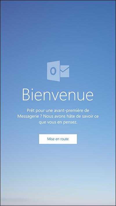 Outlook Mail écran de bienvenue