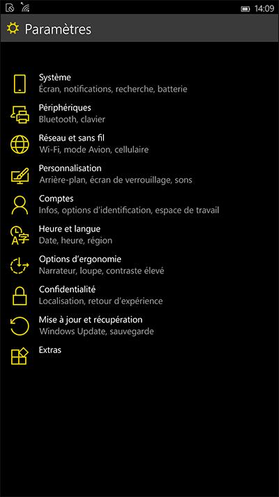 Paramètres Windows 10 mobile
