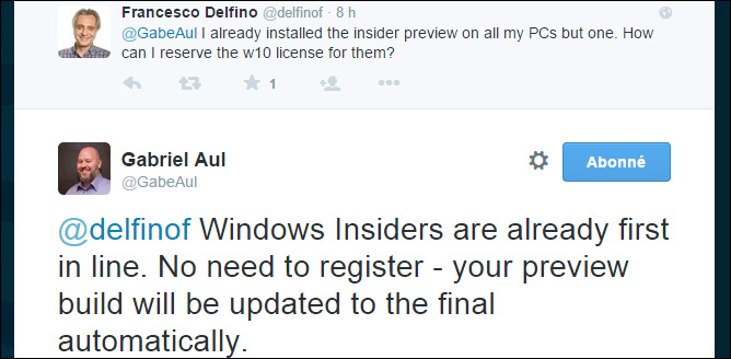 Mise à niveau Windows 10 Preview