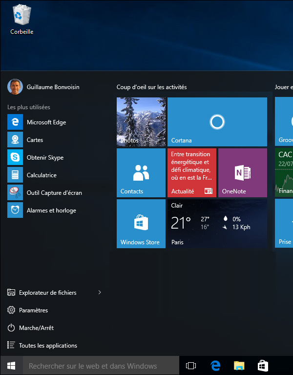 Nouveau menu démarrer de Windows 10