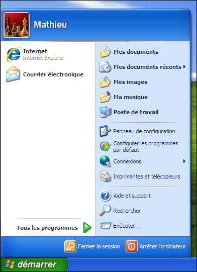 Menu de Windows XP