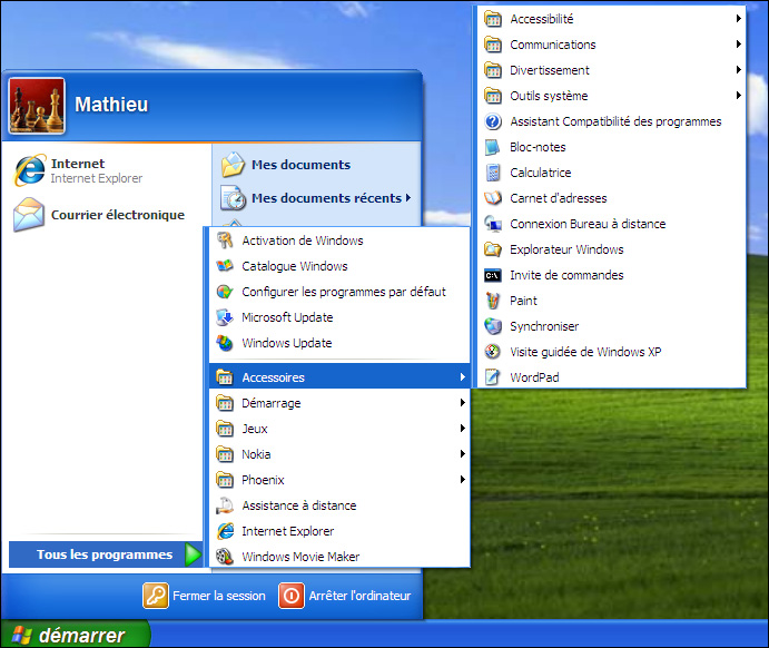 Menu déployé de Windows XP