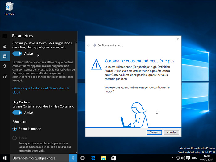 Paramètres de Cortana