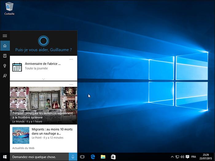 Cortana dans Windows 10