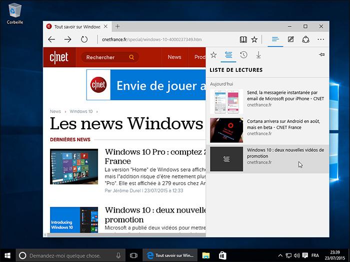 Microsoft Edge dans Windows 10