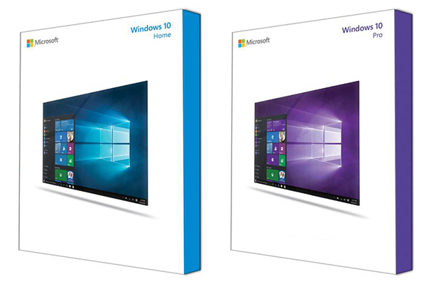 Boites des versions de Windows 10 Home et Pro