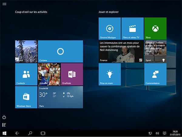 Windows 10 en mode tablette