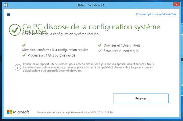 Compatibilité avec Windows 10