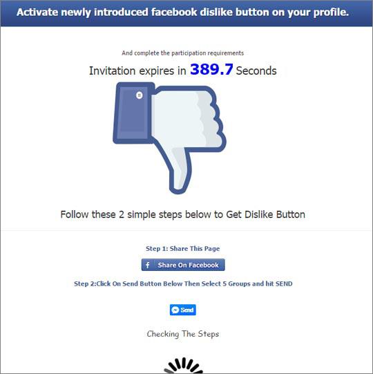 Facebook arnaque au bouton