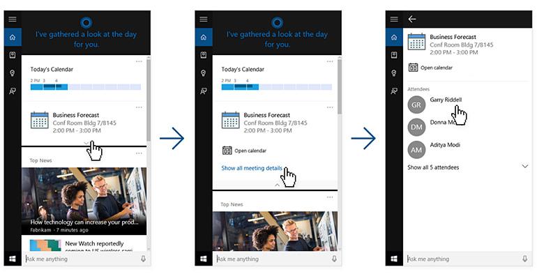 Linkedin dans Cortana