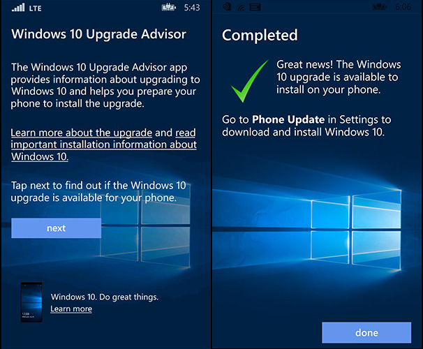 Upgrade Advisor Windows 10 mobile