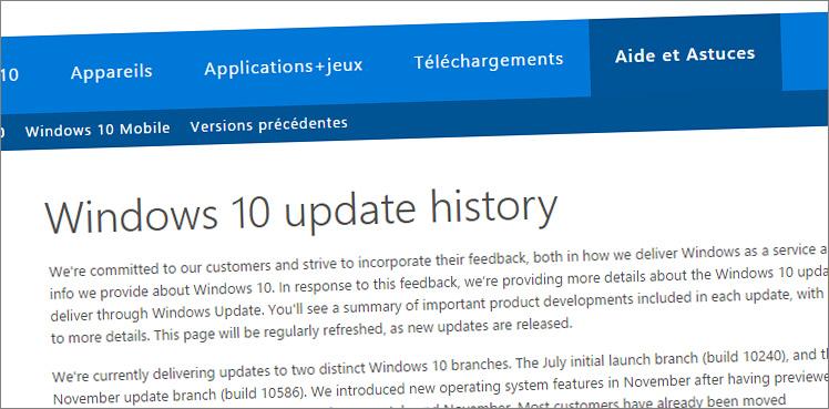 Page historique de mise à jour Windows