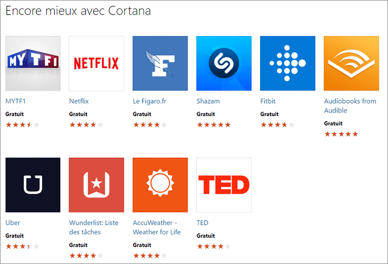 Applications Cortana