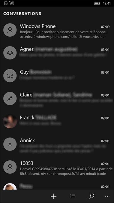 Liste SMS