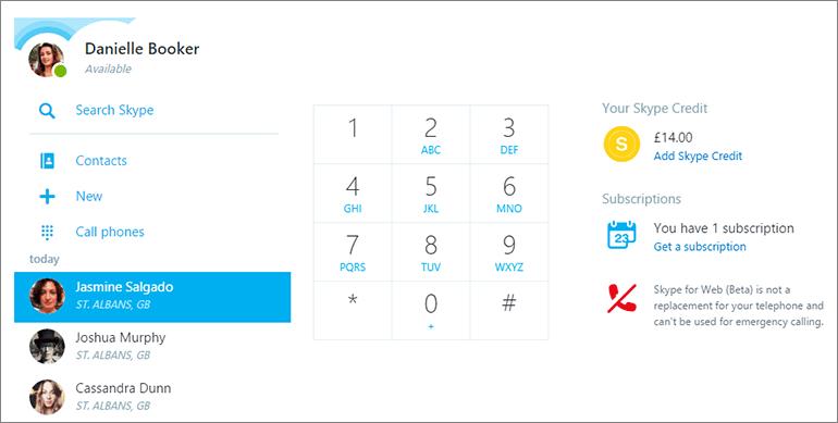 Appels Skype Web