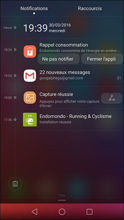 Affichage des notifications