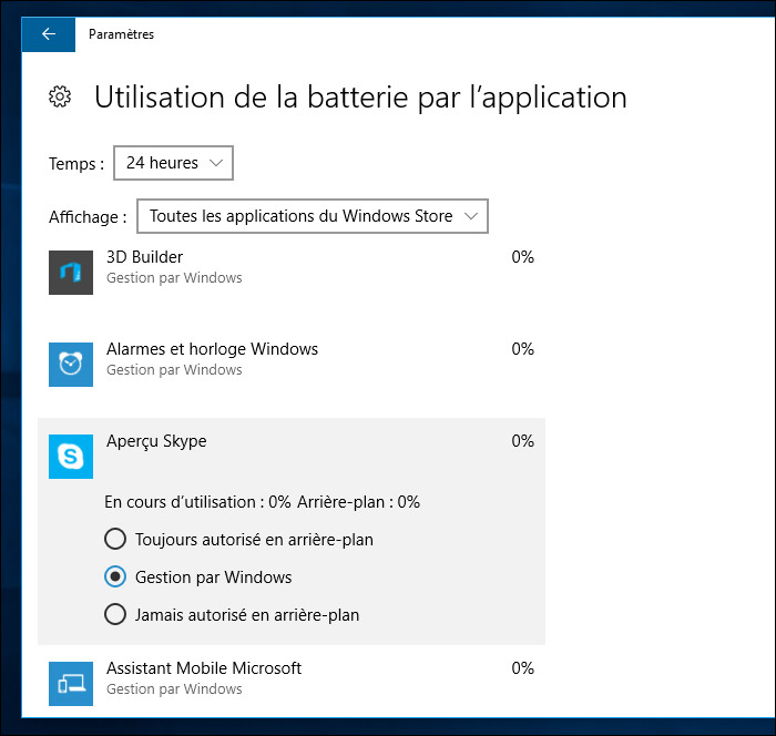 Optimisation batterie Windows 10