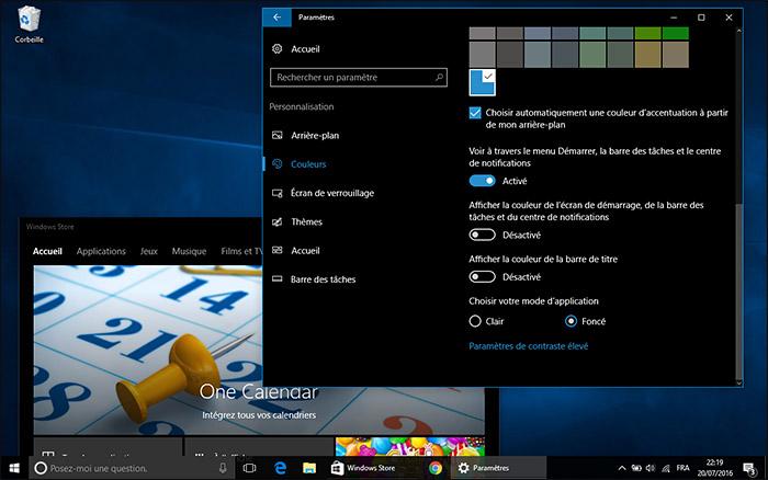 Thème foncé Windows 10